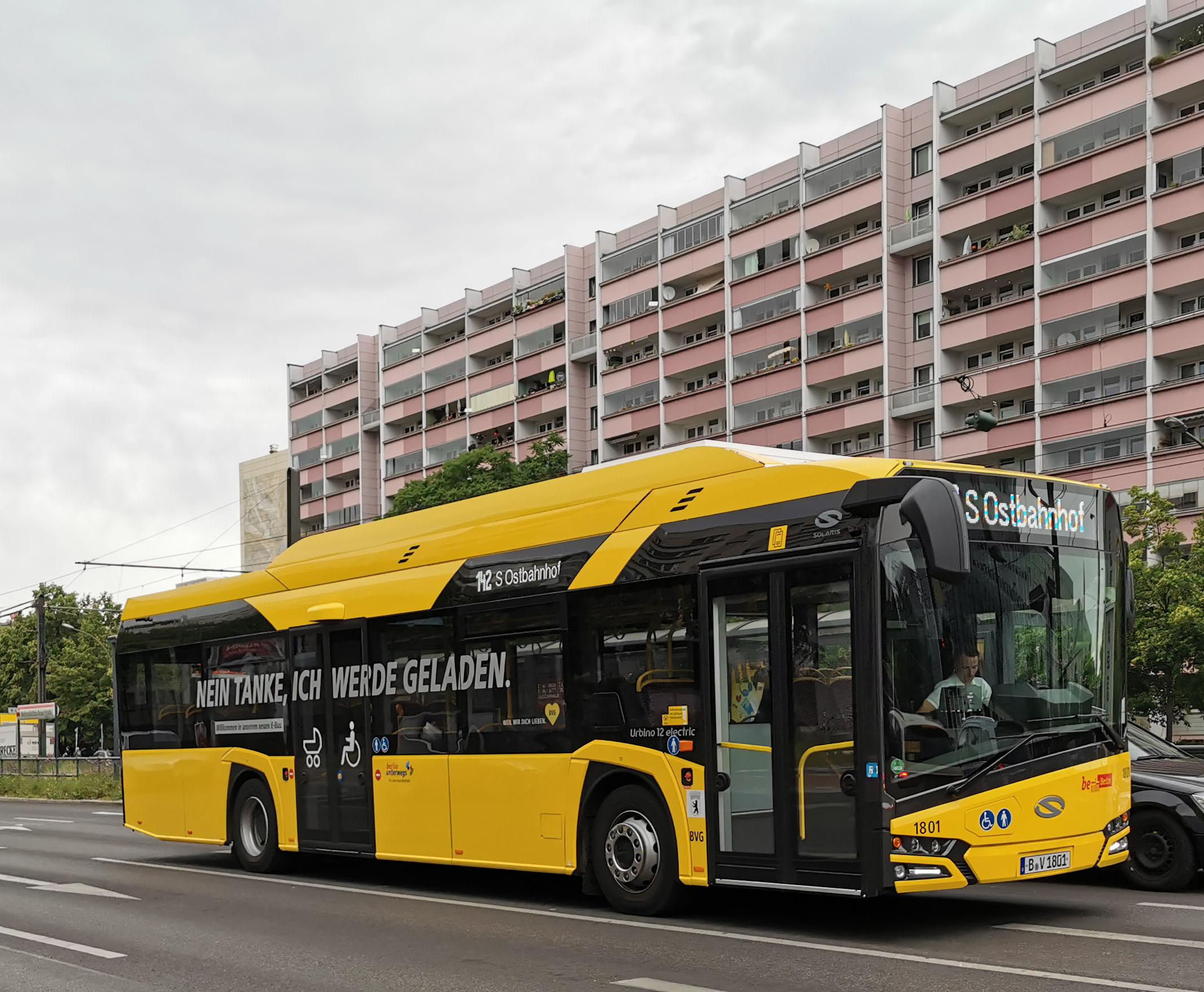 Foto: Bus 1801, Typ Solaris Urbino 12 Electric, Mollstr., Juni 2019